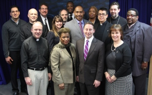 County Executive Robert P. Astorino and Deputy Commissioner Rosa Boone with faith-based group that attended the press conference