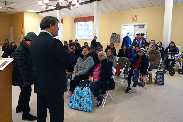 County Executive George Latimer visiting El Centro Hispano's food distribution day